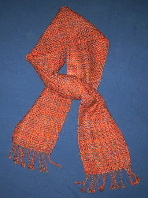 Log cabin scarf in orange.