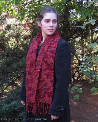 Black & red scarf in shadow weave