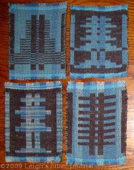 4 S&W mug rugs with variegated warp.