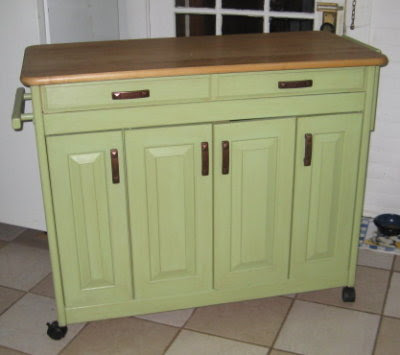 Green butcher block kitchen island on wheels