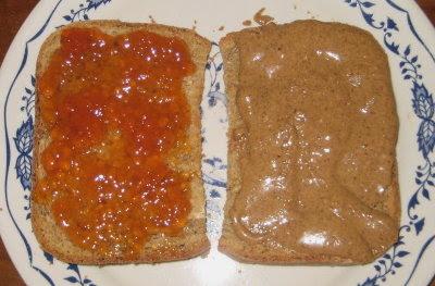 PB & r-h J sandwich. Yum