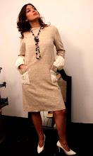 Vestido en seda y algodón crema