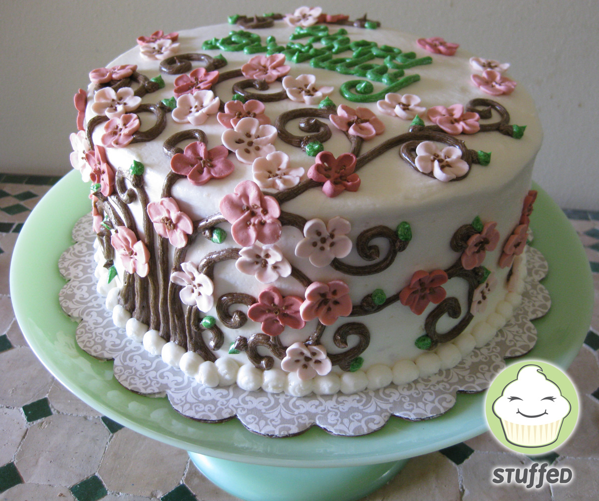 Cake With Royal Icing Flowers : Stuffed Cakes: Cherry Blossom Cake with Royal Icing Flowers