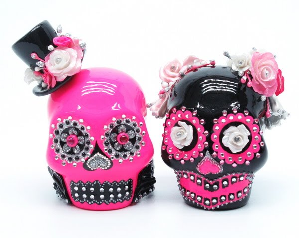 Fuchsia pink Black and silver Black skull has pink roses and white pearl