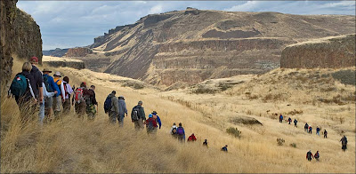 Ice Age Floods Institute members hiking in the Palouse River Canyon.