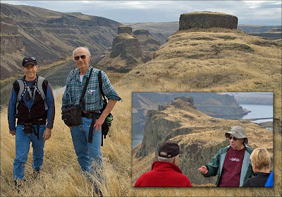 Geologist Bruce Bjornstad, Gene Kiver and local history expert Lloyd Stoess.