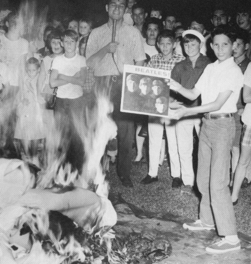American protesters burning Beatles albums