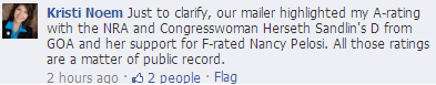 Close up from Facebook conversation of Kristi Noem lying about Stephanie Herseth Sandlin's Gun Owners of America rating.