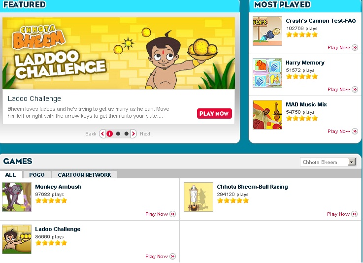 screenshot of the official site of chota bheem online games page