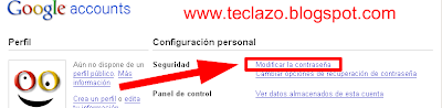 cambiar password gmail modificar password