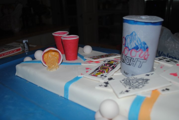 beer can cake. a eer can,