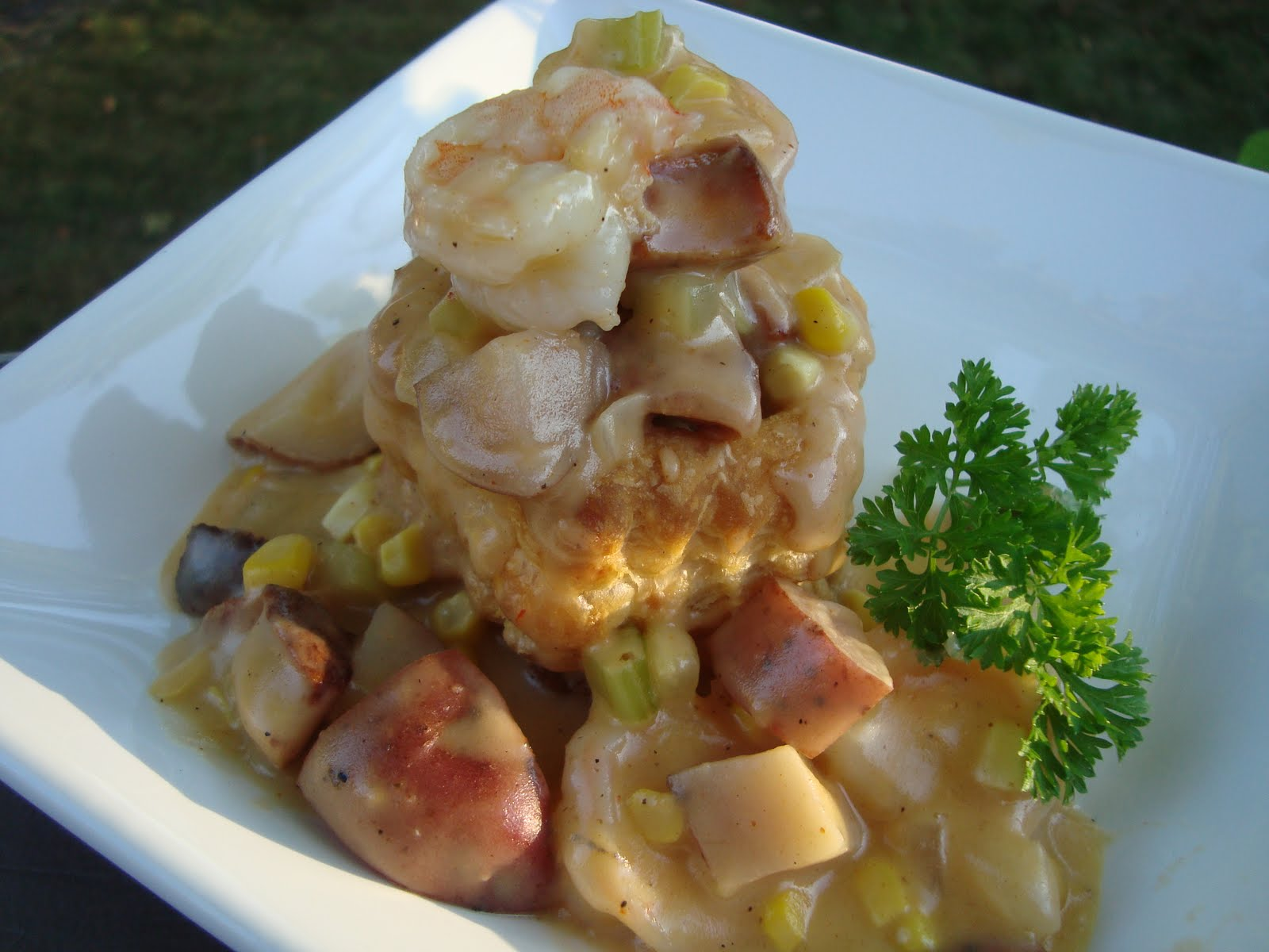 Couple in the Kitchen: Cajun Shrimp and Andouille Pot Pie