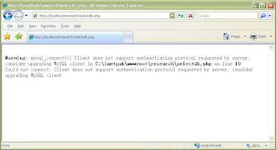client does not support authentication protocol requested by server; consider upgrading mysql client