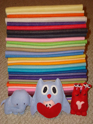 rainbow of wool felt
