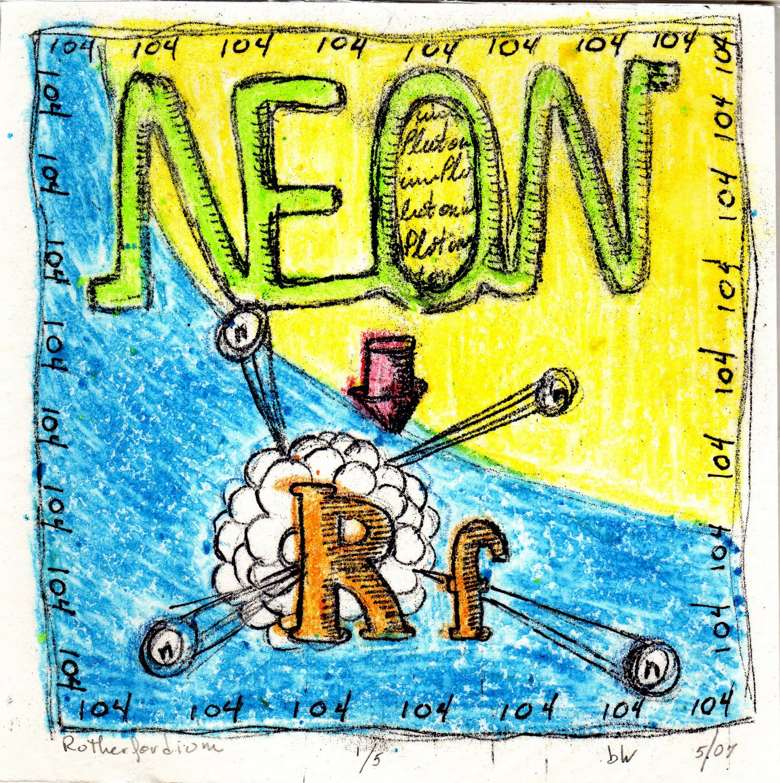 Atomic surf arts periodic table printmaking project russian and american researchers both laid claim to the element which was called kirchutovium for a while by the russians until a truce was decided and urtaz Images