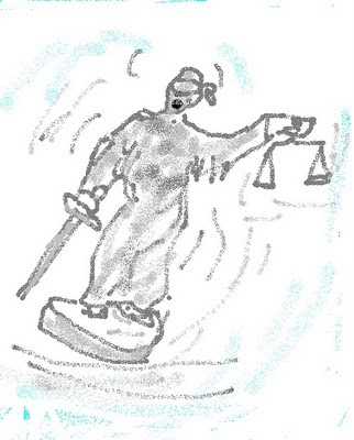 cartoon of statue of justice falling over