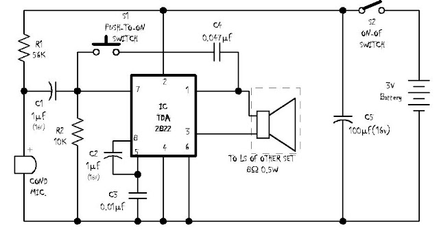electronics and projects  simple intercom