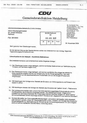 CDU, Heidelberg, Altstadt, Lärm