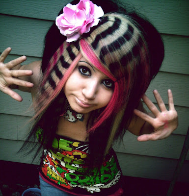 female emo hairstyles. The female emo hairstyle can