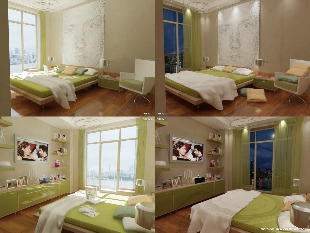 Home renovations green color bedrooms interior design ideas for 2 color bedroom ideas