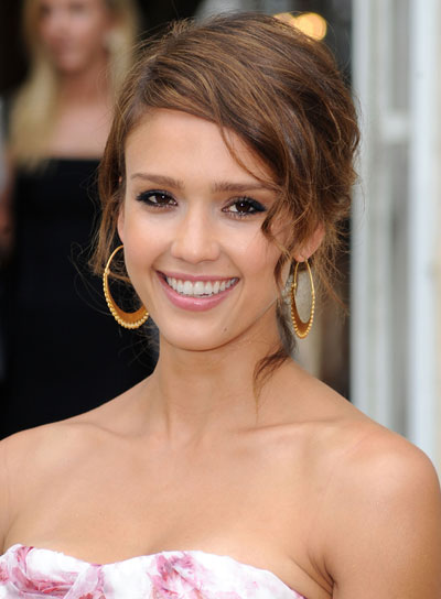 Jessica Alba Romantic Brunette Updo Hairstyle