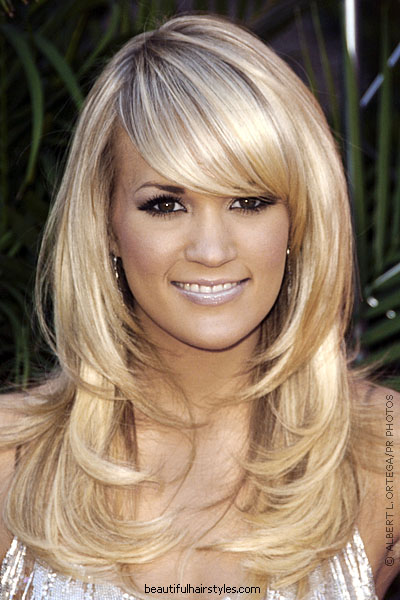 Long hairstyles which are layered will look rather good with bangs.