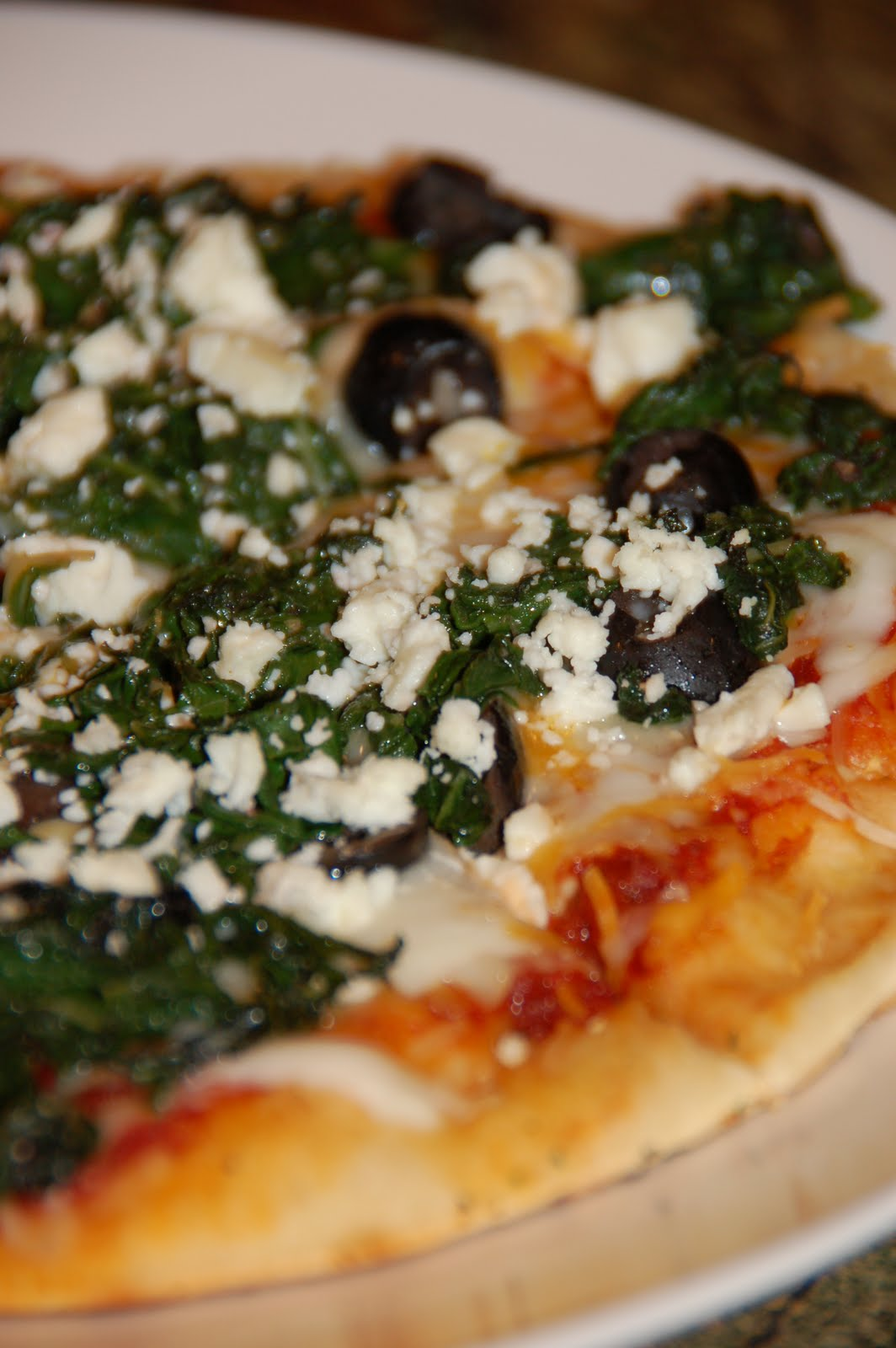 Guinnah: Grilled Pizza with Swiss Chard, Black Olives and Feta