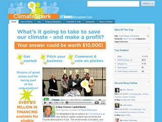 ClimateSpark.ca + Toronto Atmospheric Fund online challenge for climate change starts November 3, 2010, by wobuilteco