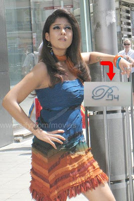 Nayanthara with Prabhu tattoo (P in English and the rest in Tamil)