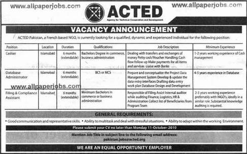 Paper pk cashier job in acted pakistan jobs french based for Cashier jobs hyderabad nimes