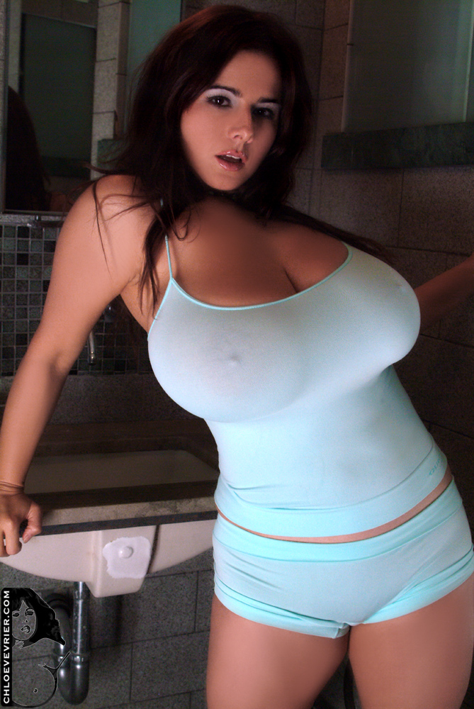 Chloe Vevrier In A Super Tight Blue Dress Big Breast