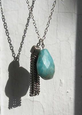 silver tassel and sea stone cascade necklace