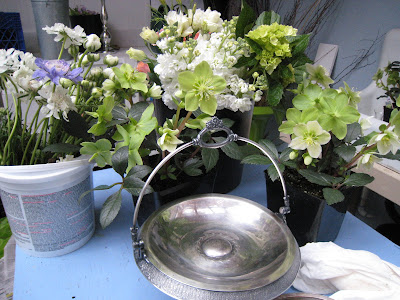 vintage silver and flowers for arangement