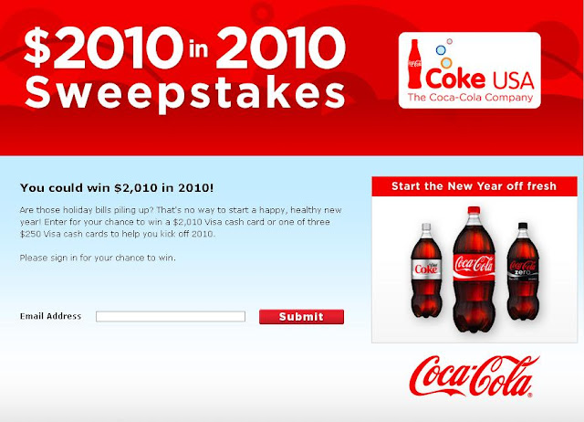 $2010 in 2010 Sweepstakes, Www.Cokeplaytowin.com/cokeusanysweeps
