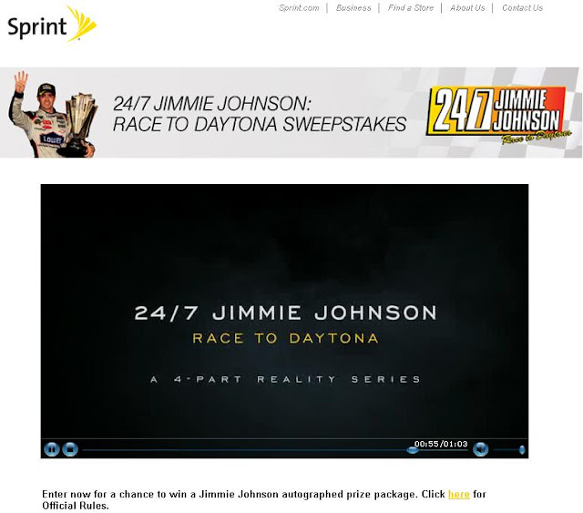 Sprint.com/jimmiejohnsonsweeps - Sprints 'Jimmie Johnson Race to Daytona'