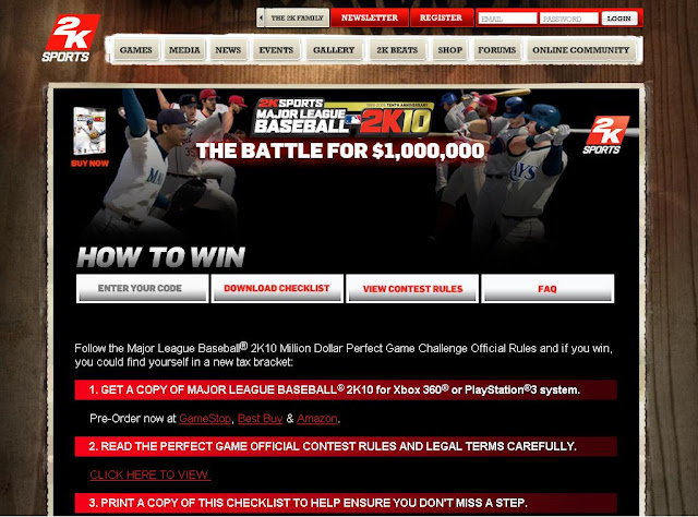 2ksports.com/perfectgame -  2K10 Million Dollar Perfect Game Challenge