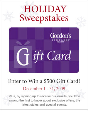 Gordon's Holiday, GordonsJewelers.com Sweepstakes