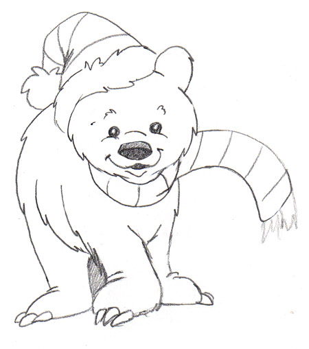 Polar Bear Christmas Coloring Page