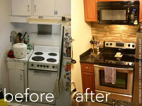 Above The Range Is A Microwave Hood And The Backsplash Is A Fancy Combination Of Colored Glass And Natural Stone It Was