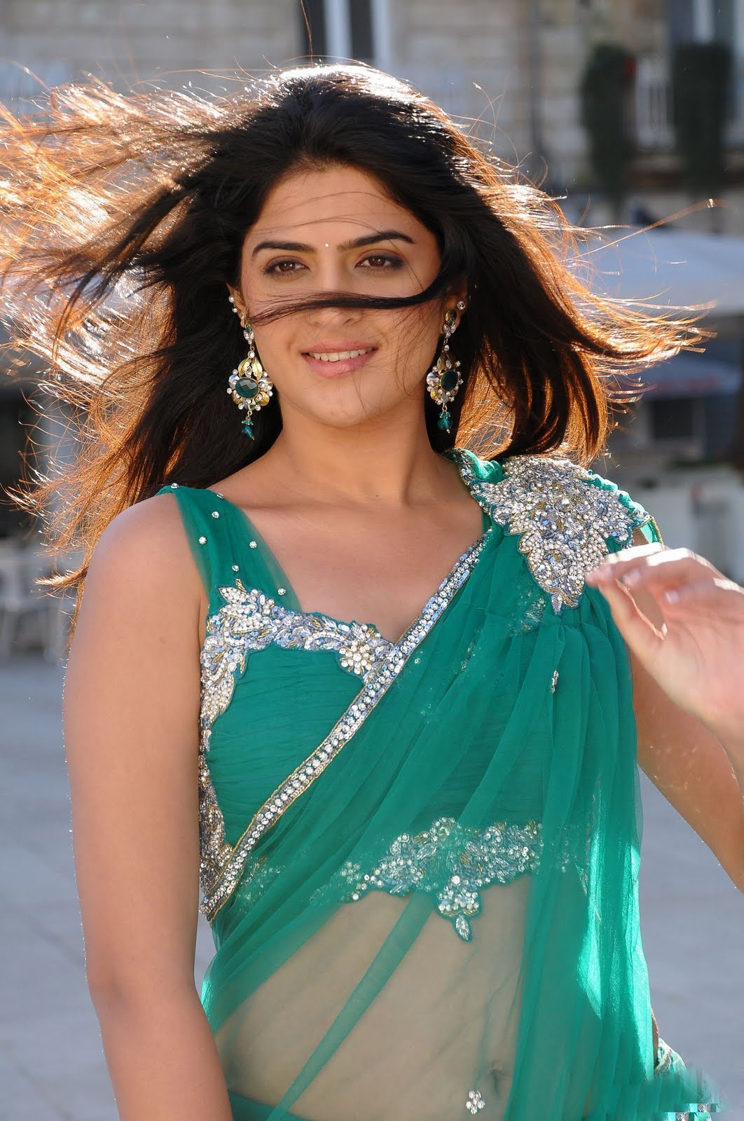 Actress Deeksha Seth in Hot Spicy Green Saree Wallpapers