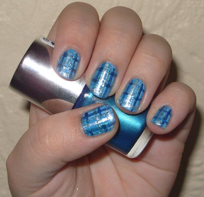 Plaid Nail Art To Start I Lied My Base Coat And Colour Used Barry M Cyan Blue