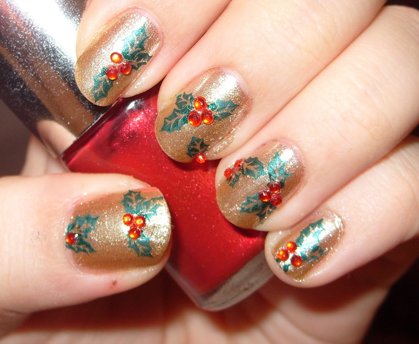 Christmas Holly And Candy Cane Nail Art