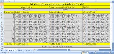 harmonogram kredytu w Excelu