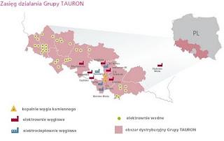 zasięg działania grupy tauron