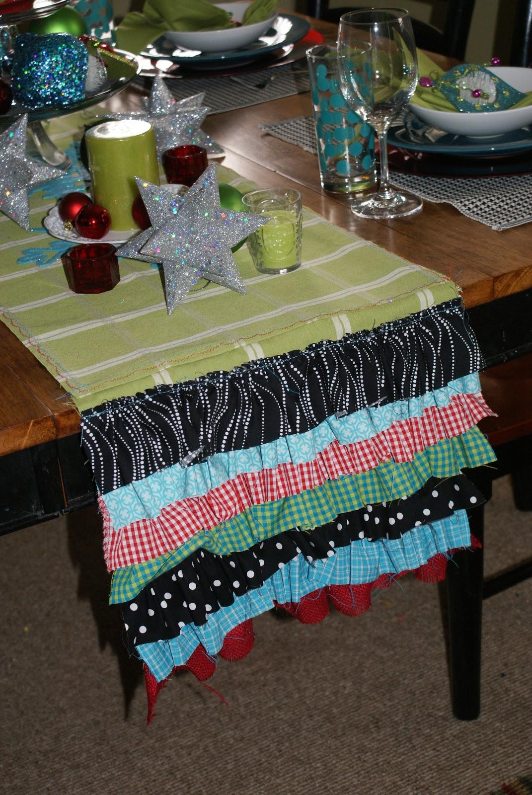 christmas table runner ruffled goodness blue cricket. Black Bedroom Furniture Sets. Home Design Ideas