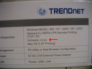 image of side of box claiming Linux compatibility