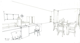 kitchen line drawing black ink pen interior