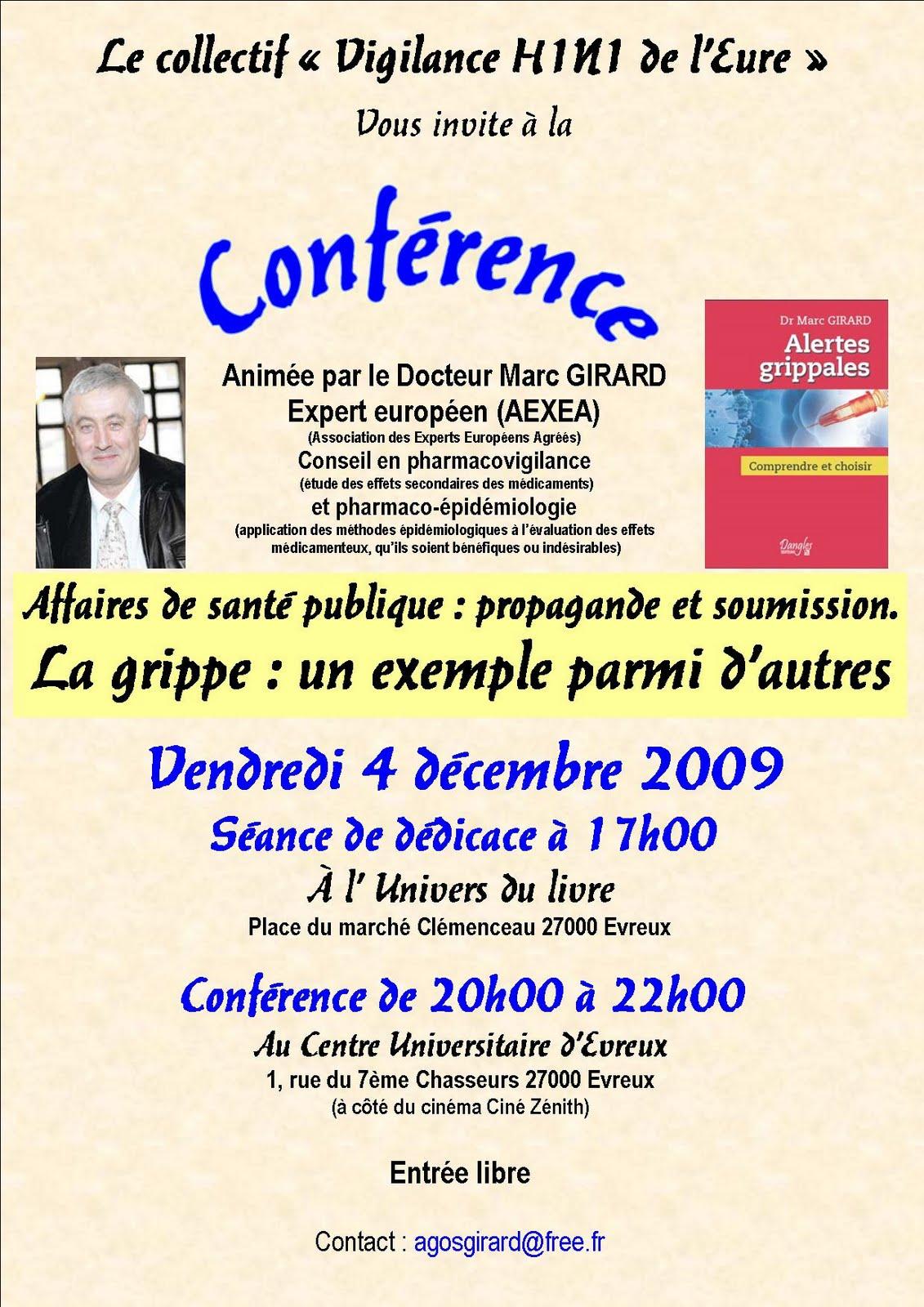 Conférence débat sur la vaccination contre la grippe A H1N1 Annimée par le Docteur Marc GIRARD