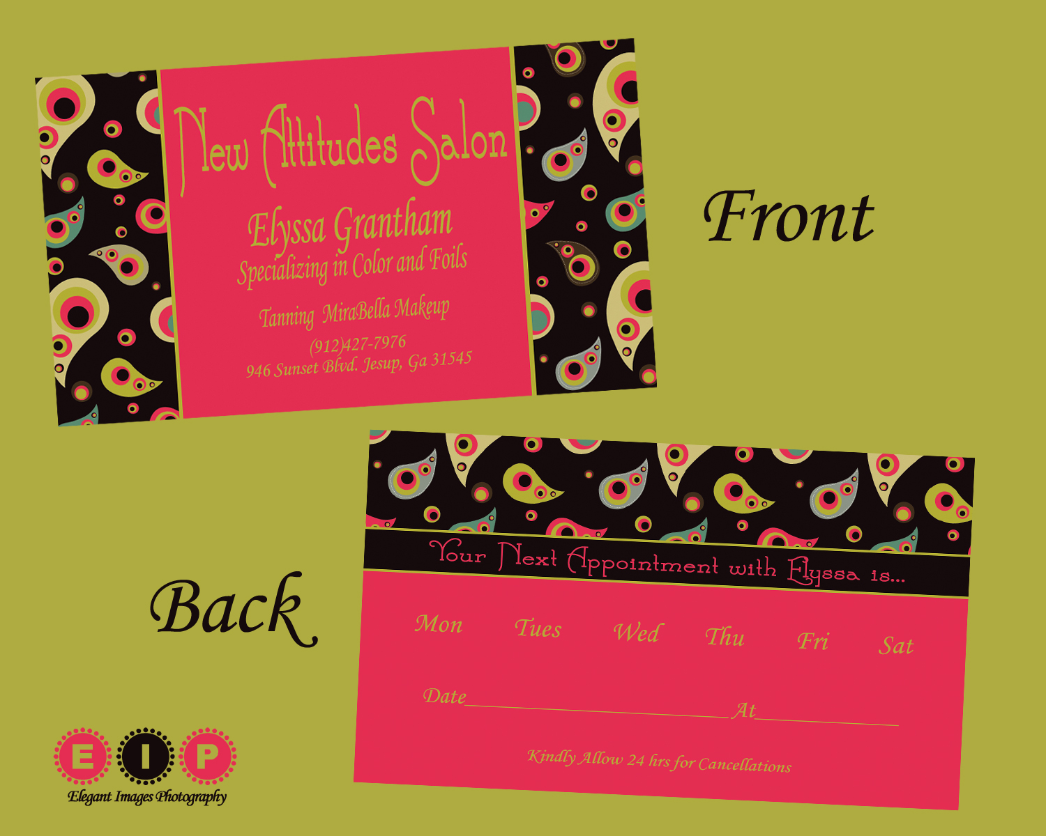 Elegant images by mandy business cards for elyssa new for A new attitude salon