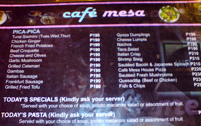 café mesa, clark, mimosa, pampanga, coffee shop, restaurant, European, food, frappe, choco frost, iced mocha, black forest, menu